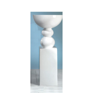 Coppa con base alta vetroresina bianco