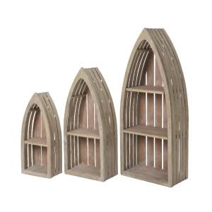 Barca vetrinetta legno set da 3