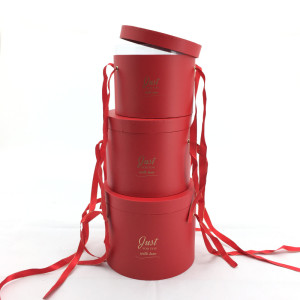 Scatola regalo cilindro rosso (set 3)