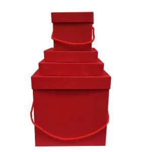 Scatola regalo velluto rosso (set 4)