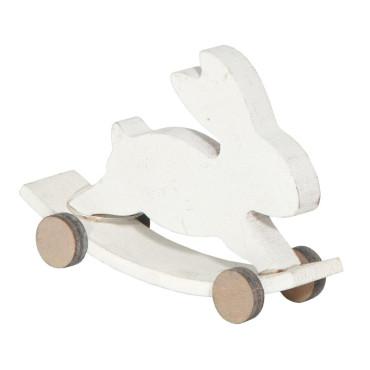 Coniglio legno bianco cm.10
