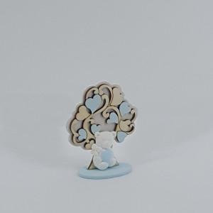 Albero con orsetto h.8 azzurro (pz.6)