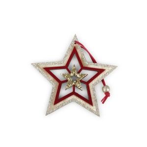 Stella legno cm.12 rosso-oro (pz.6)