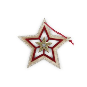 Stella legno cm.15 rosso-oro (pz.6)