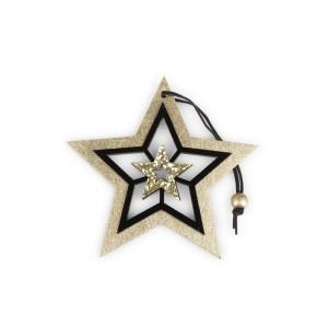 Stella legno cm.12 nero-oro (pz.9)